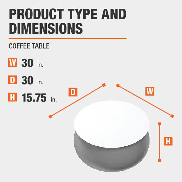 Coffee Table Product Dimensions 30 inches wide 15.75 inches high