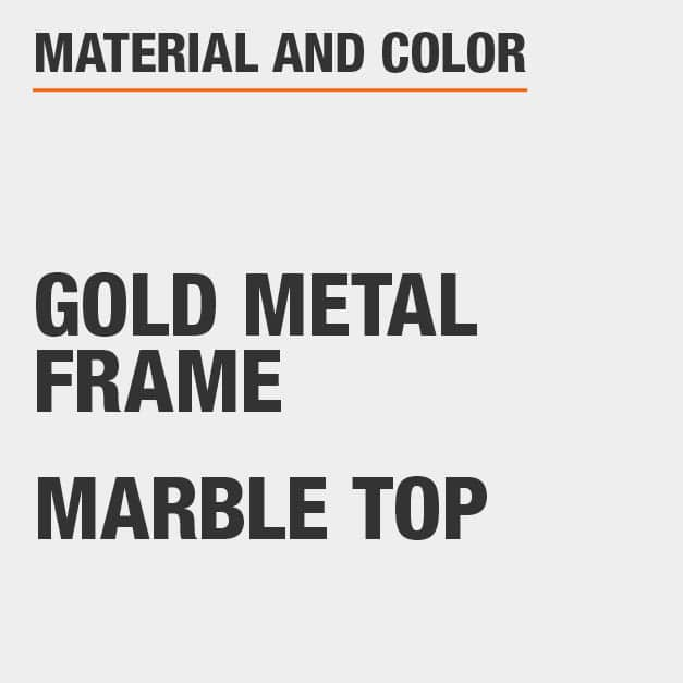 Marble Top Gold Metal Frame Accent Table
