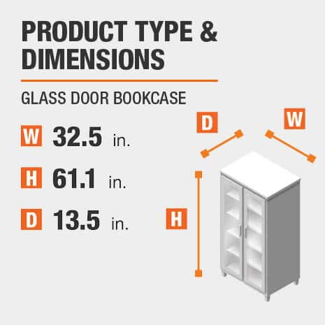 Glass Door Bookcase Product Dimensions 32.5 inches wide 61.1 inches high