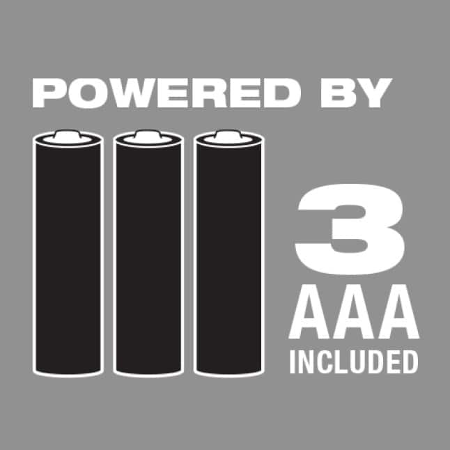Powered by (3) AAA batteries, included.