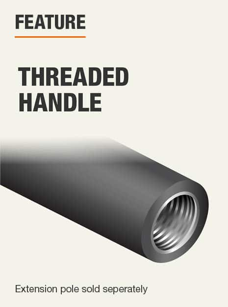 handle is threaded to accept an extension pole