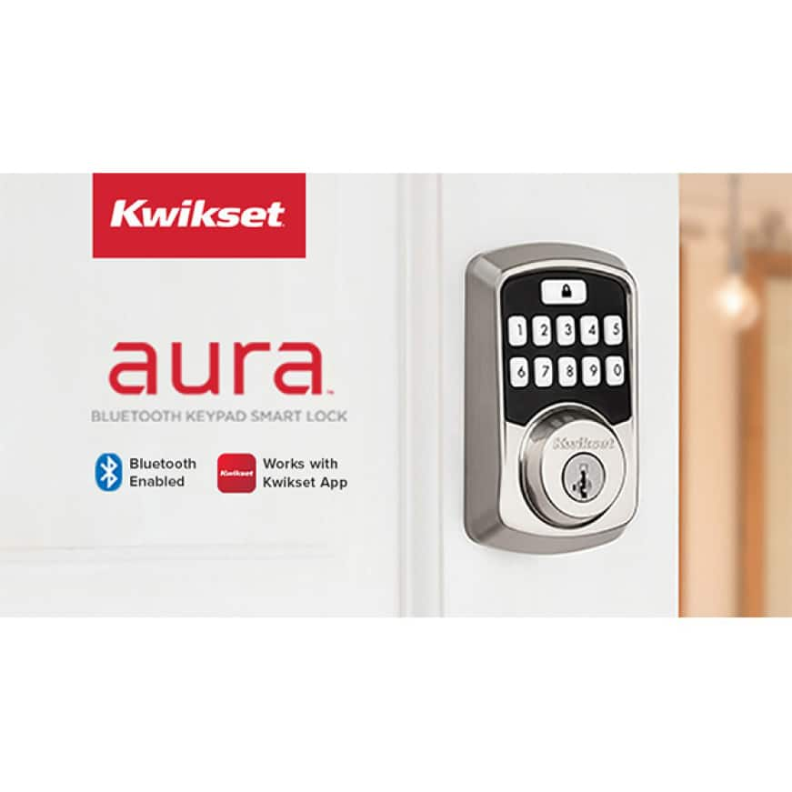 Satin nickel Aura on white door with Bluetooth logo and Kwikset app logo.