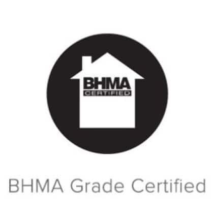 BHMA house logo on black circle.