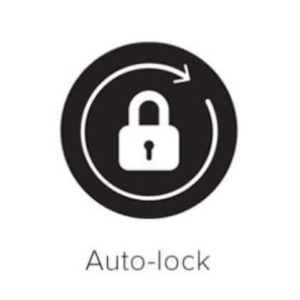 Auto-lock symbol on black circle.