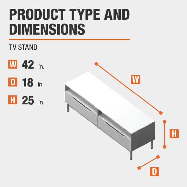 TV Stand  Product Dimensions 42 inches wide 25 inches high
