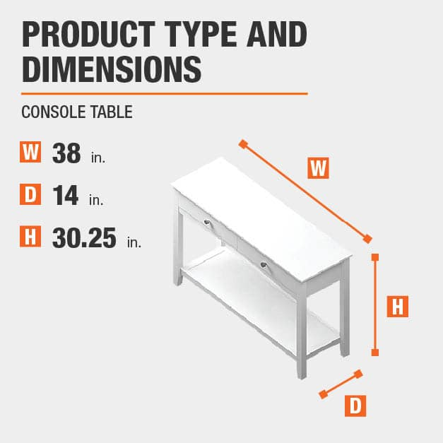 Console Table Product Dimensions 38 inches wide 30.25 inches high