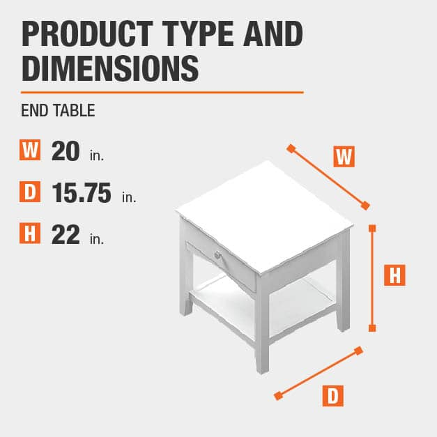 End Table Product Dimensions 20 inches wide 22 inches high