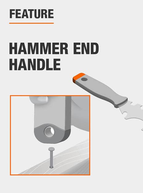 Features an end cap for striking with a hammer, or using as a hammer.