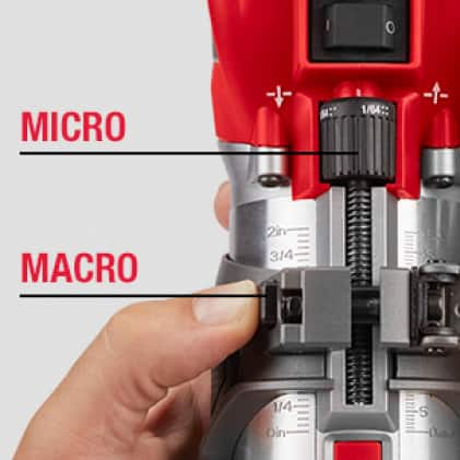 Micro-Adjust Dial and Macro-Adjustment Button For Precise Cuts