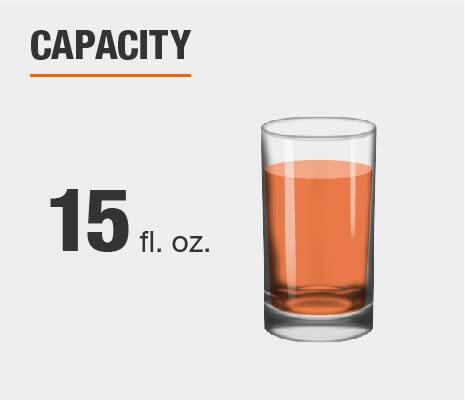 Drinkware set capacity is 15 fluid ounces