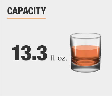 Drinkware set capacity is 13.3 fluid ounces