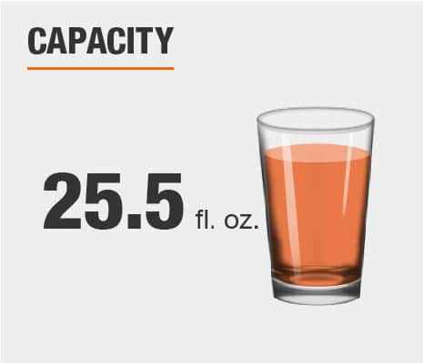 Drinkware set capacity is 25.5 fluid ounces