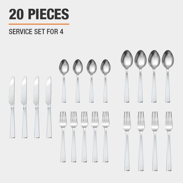 Flatware set includes 20 pieces, service set for 4