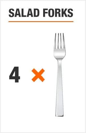Flatware set includes 8 salad forks
