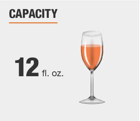 Drinkware set capacity is 12 fluid ounces