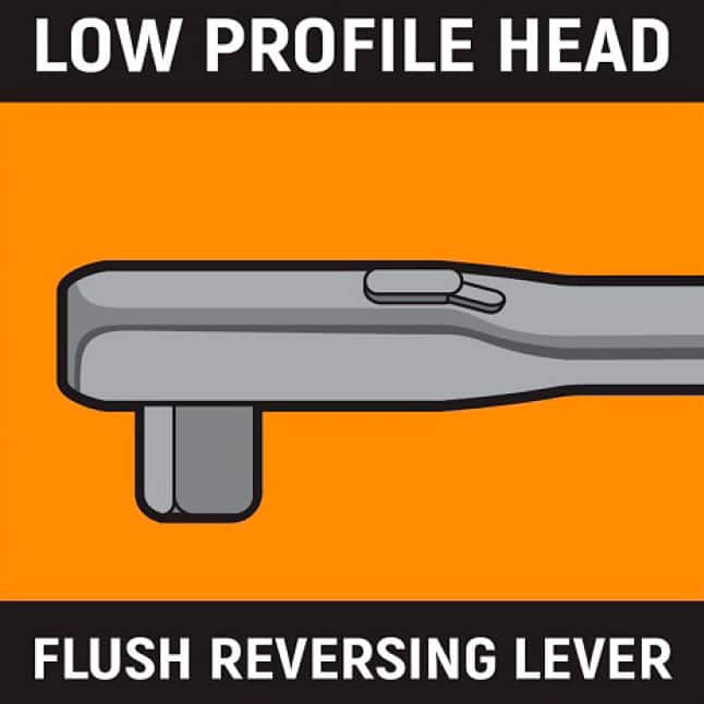 Low profile head and flush reversing lever