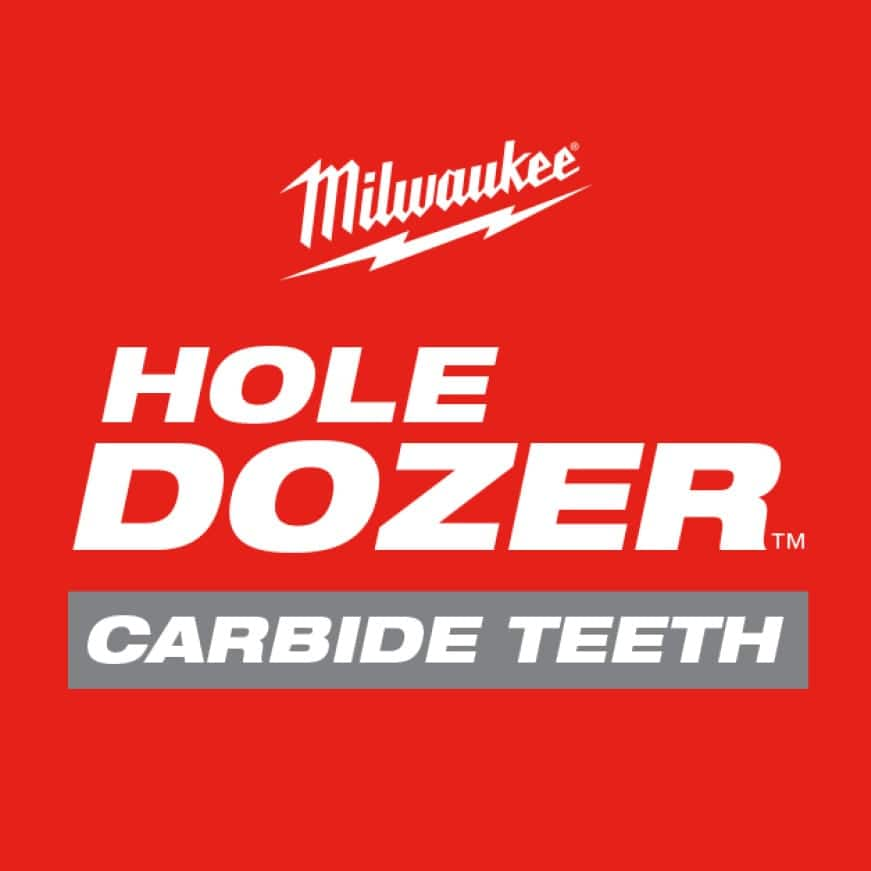 Milwaukee Hole Dozer with Carbide Teeth hole saws provide 50X Life in Extreme Multi-Material cutting applications when compared to bi-metal hole saws