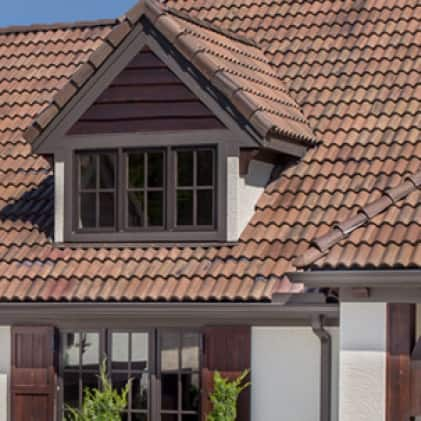 Exterior house with tile shingles
