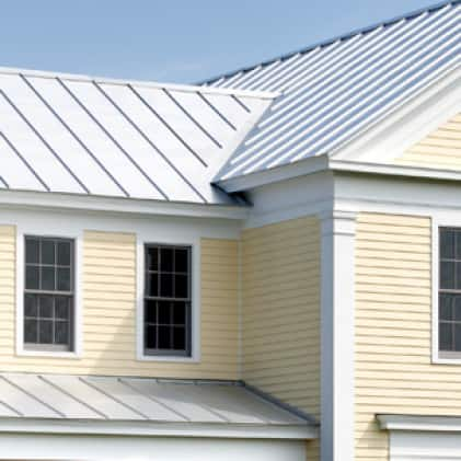 House with aluminum roofing