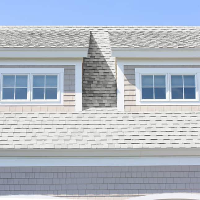 House with white asphalt shingles