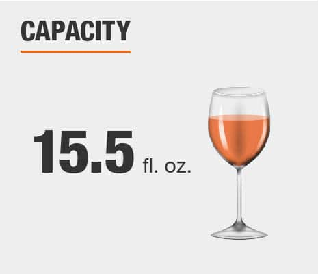 Drinkware set capacity is 15.5 fluid ounces