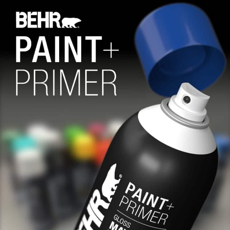 BEHR interior/exterior spray paint and primer available in a wide range of popular colors