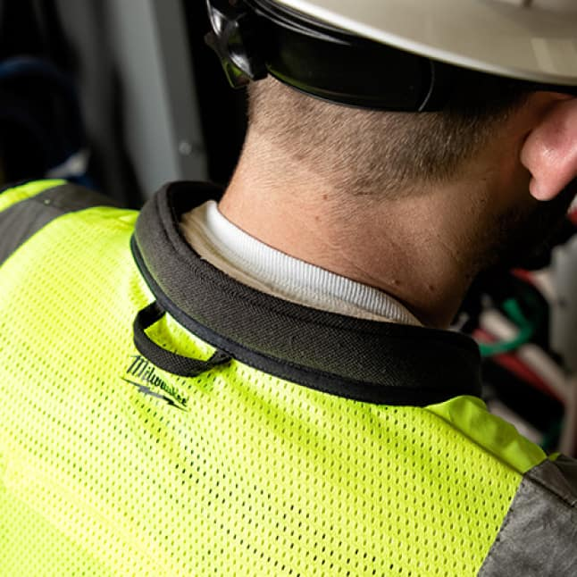 Milwaukee hi vis safety vest with padded collar reduces pressure on neck