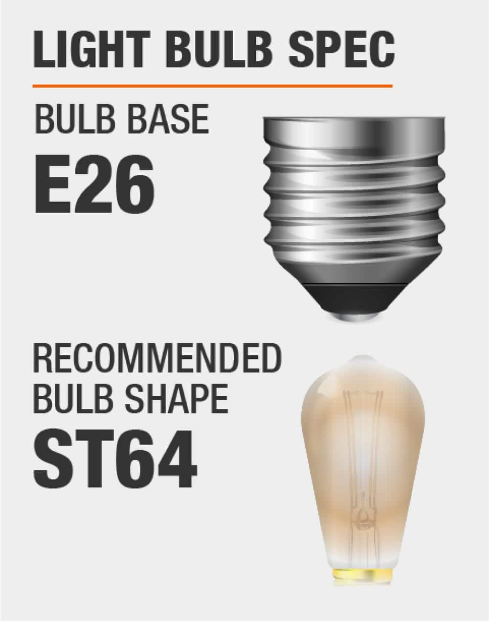 this fixture fits bulbs with E26 base and recommended bulb shape is ST64