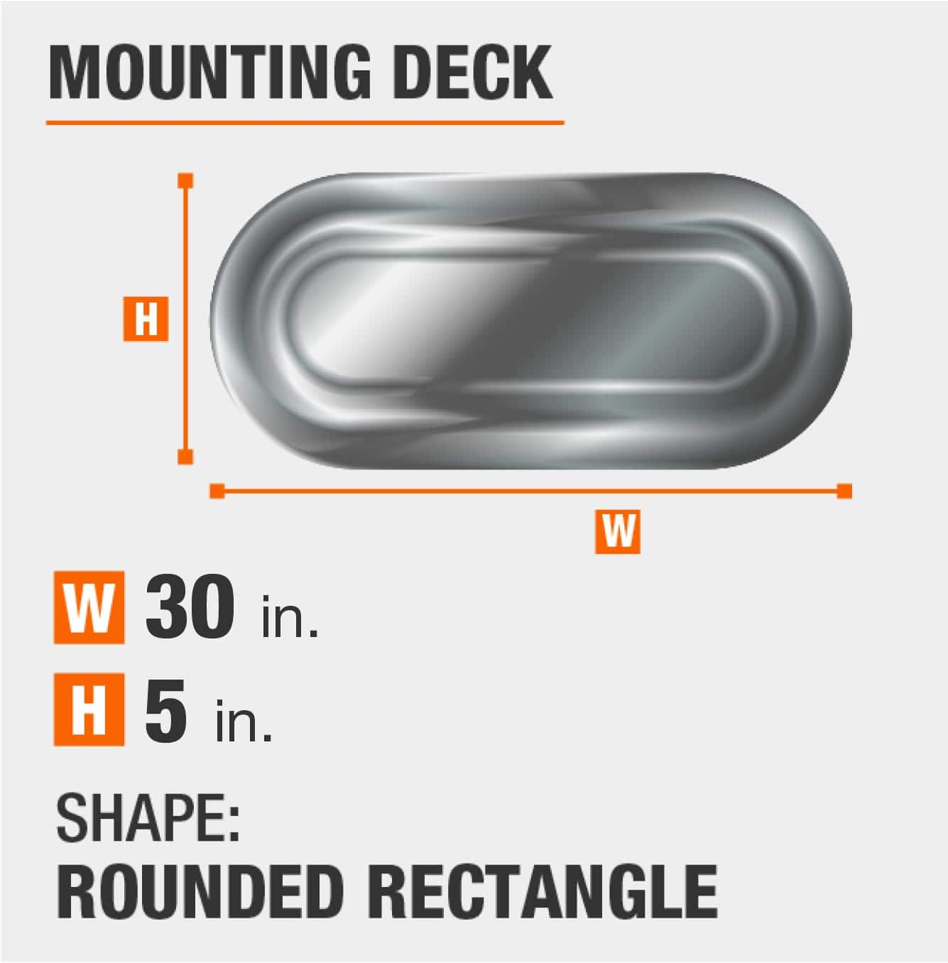 mounting deck is rectangular with round sides and 5 inches by 30 inches