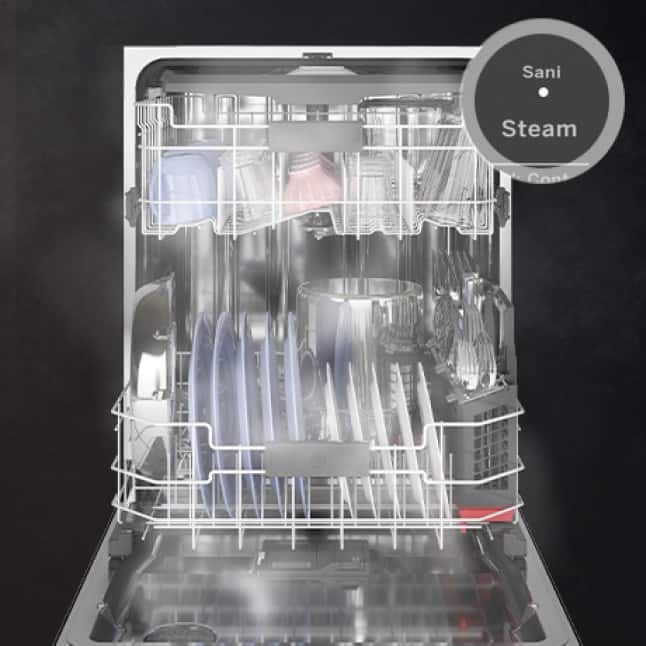 The open tub of the dishwasher steams, sanitizing the white plates inside. An overlay shows the steam setting's button on the panel.