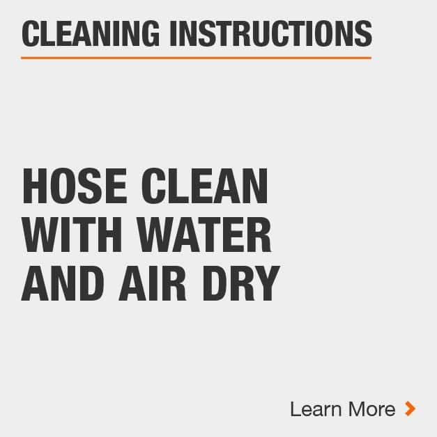 Clean the area rug by hose cleaning with water and air drying