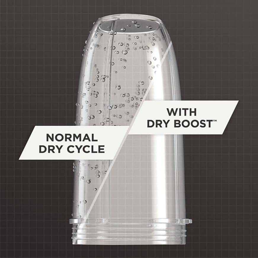 A cup is compared after running with and without dry boost. The normal-dry cup still has water droplets, but the dry boosted cup is dry.