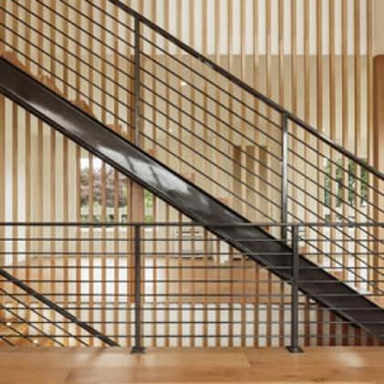 Metal stair railings painted black