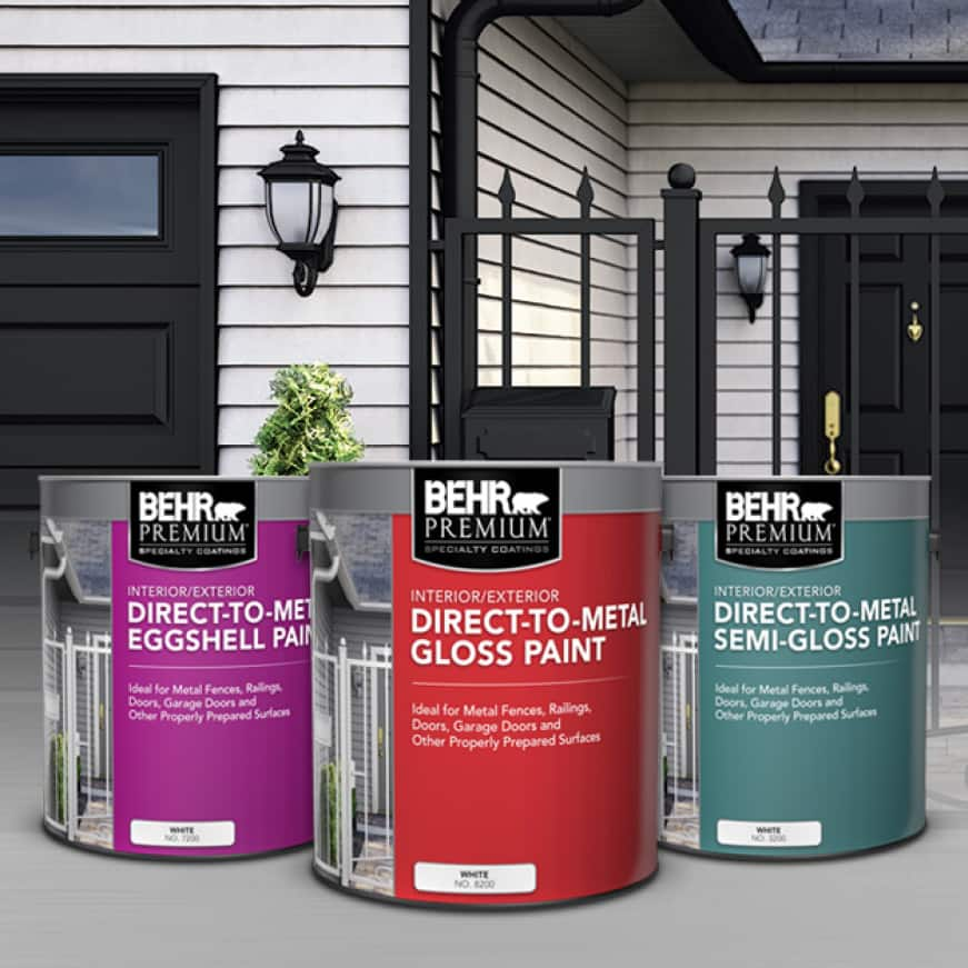 BEHR Premium Direct-To-Metal Cans Shown in Eggshell, Semi-Gloss, and Gloss