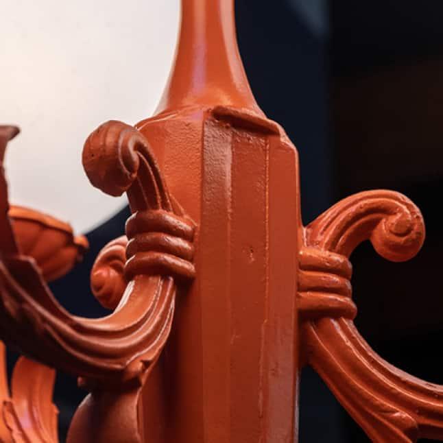 Metal lamp post painted orange