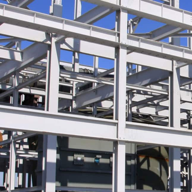 Metal exterior racking shown on an industrial site