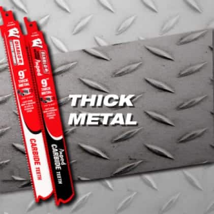 """This is an image of a Diablo 9"""" thick metal carbide reciprocating saw blade."""