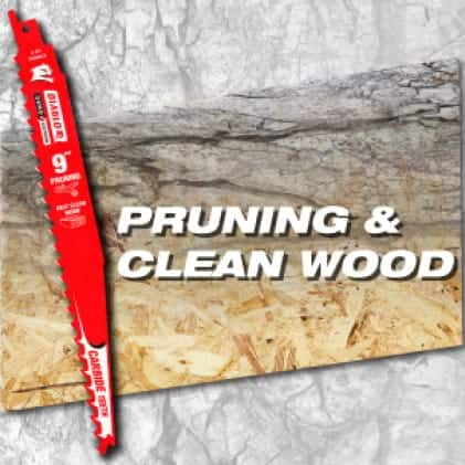 """This is an image of a Diablo 9"""" carbide pruning and clean wood reciprocating saw blade."""