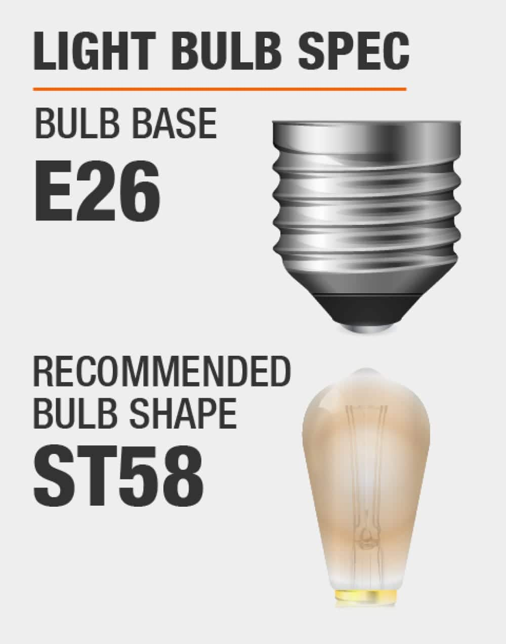 this fixture fits bulbs with E26 base and recommended bulb shape is ST58