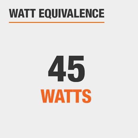 This light has a watt equivalence of 45 watts.