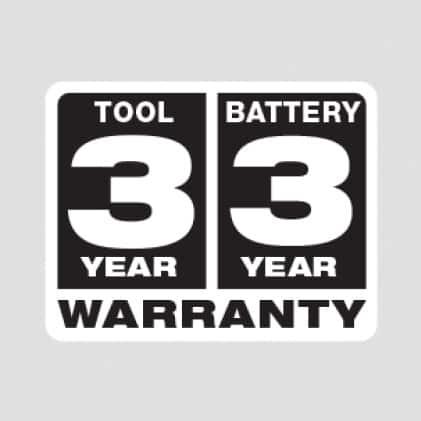 Three Year Tool Warranty, Three Year Battery Warranty