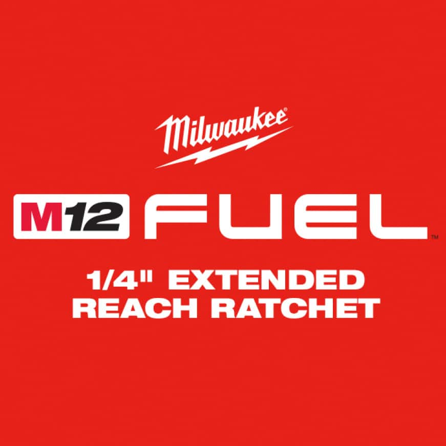 """The M12 FUEL 1/4"""" Extended Reach Ratchet provides industry leading torque and extended neck for the longest reach in tight spaces."""