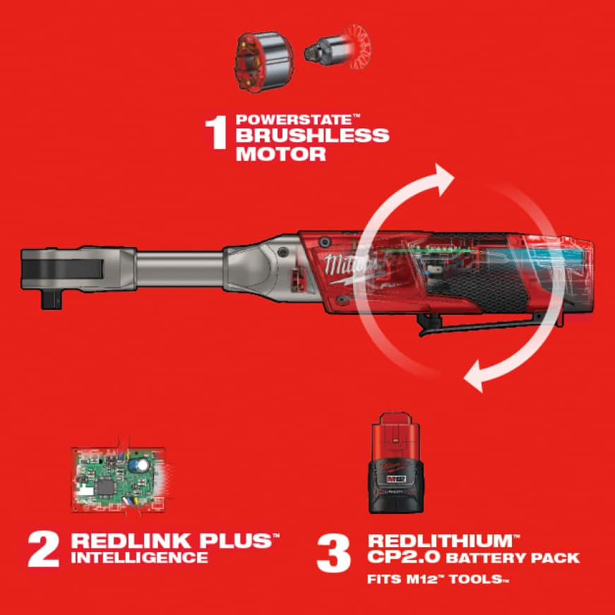 Features three Milwaukee-exclusive technologies - POWERSTATE Brushless motor, REDLINK PLUS Intelligence and REDLITHIUM Batteries