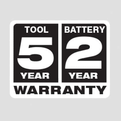 5 year Tool Warranty, 2 Year Battery Warranty
