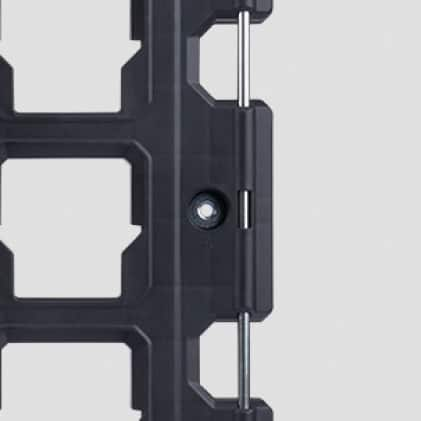 Storage mounting plate has metal reinforced tie-down points to secure material