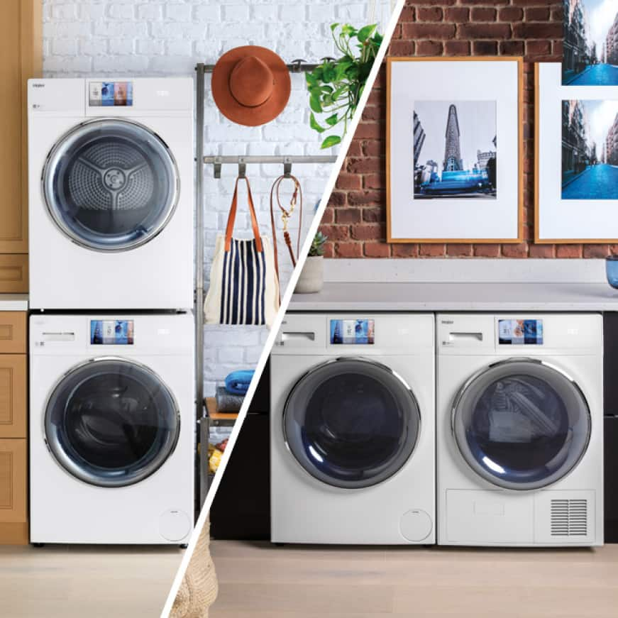 A split shot. One side shows the washer and dryer side-by-side in a laundry room, and the other side shows the same scene with the machines stacked.