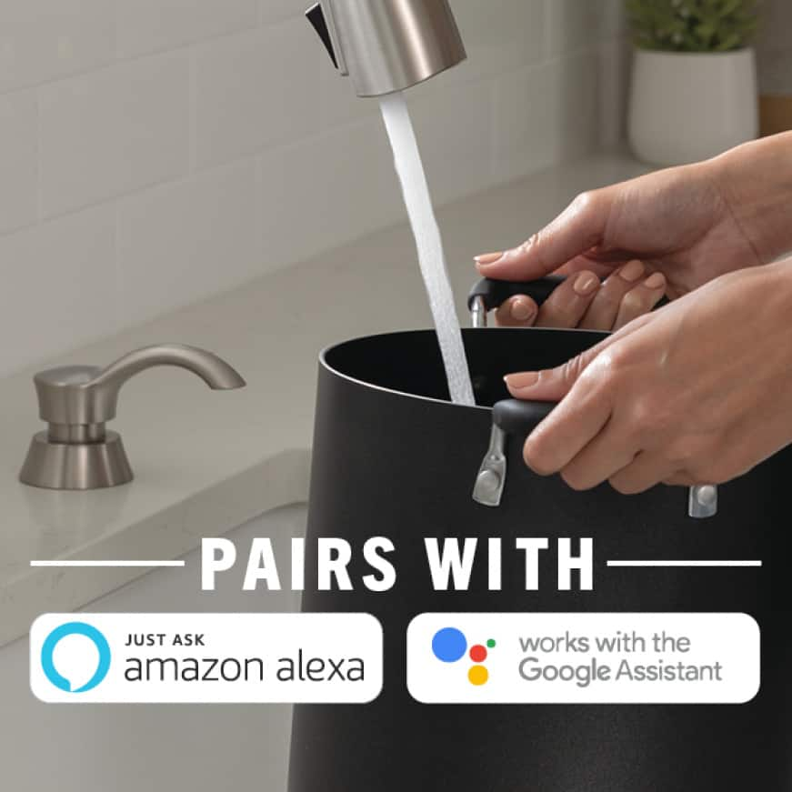 pot being filled with water with the Amazon Alexa and Google Assistant