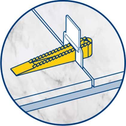 Slide reusable LASH wedge into each clip