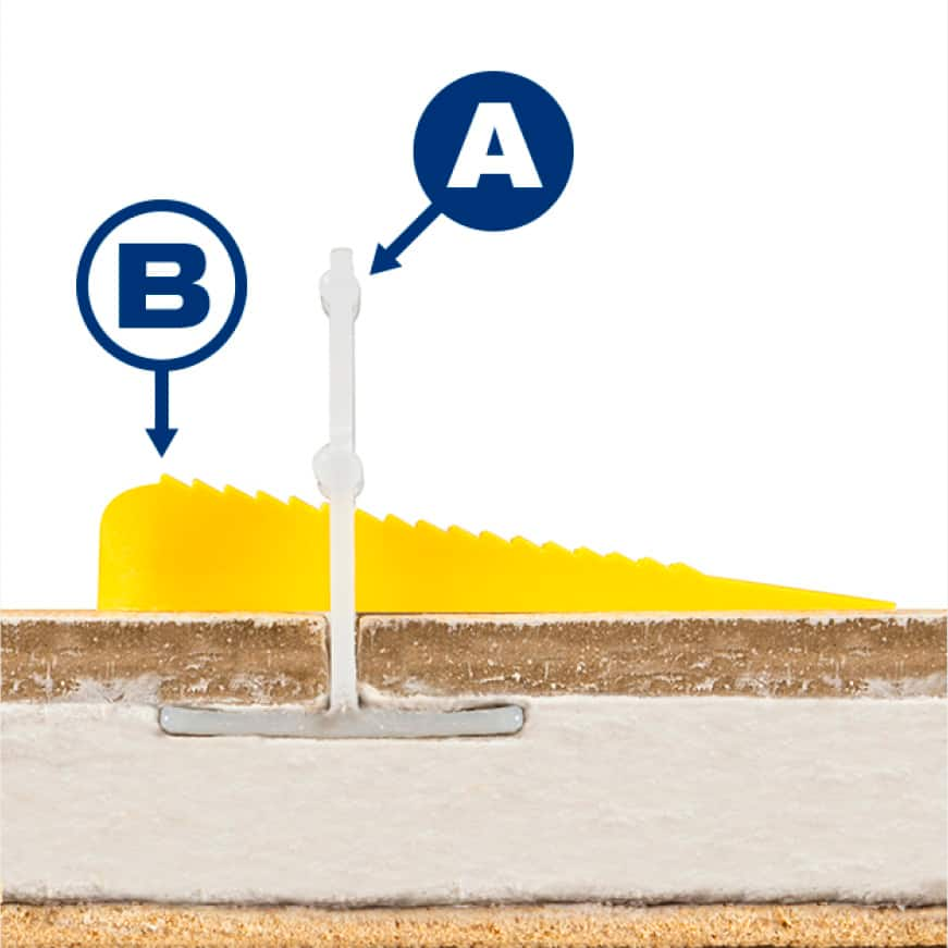 This clip and wedge leveling system is designed for quick installation