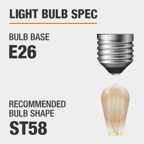 Requires E26 ST58 light bulbs